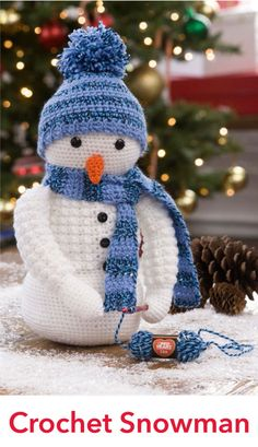 Crochet Snowman in Red Heart Lisa - LW4816EN. Discover more Patterns by Red Heart at LoveKnitting. We stock patterns, yarn, needles and books from all of your favorite brands.