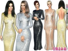 .:237 - Sequin long dress:.  Found in TSR Category 'Sims 4 Female Everyday'
