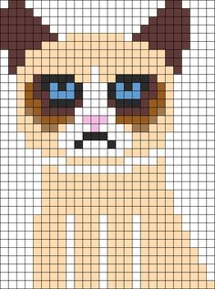 Tard The Cat Grumpy Perler Bead Pattern | Bead Sprites | Characters Fuse Bead Patterns