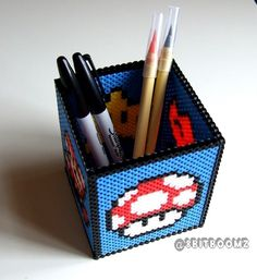 8 Bit Retro Mario Perler Pen Holder | NES Nintendo