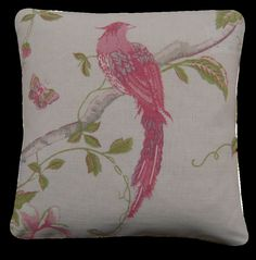 A pair of Cushion Covers made with Laura Ashley Summer Palace Cerise Fabric 12""