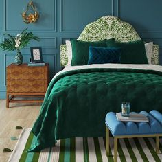 Velvet Emerald Green Bedding Bedroom Home Bedroom