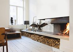fireplace design and log storage