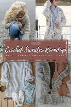 Crochet Sweater Pattern Round Up - Taylor Lynn Crochet Cardigan Pattern, Crochet Shirt, Knit Crochet, Crochet Sweaters, Crochet Patterns, Crochet Tops, Crochet Scarves, Knit Shawls, Crochet Ideas