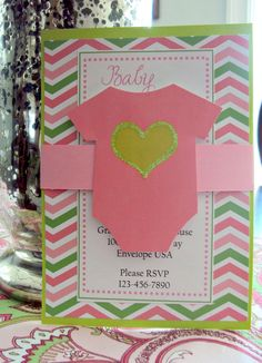 Baby Shower invitation Pink and Green by TooCuteInvites on Etsy, $30.00
