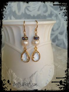 ❥ Snow Queen White Faceted #Pearl Drop Ice Crystal #Earrings