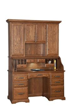 d67f9a9078418 Amish Roll Top Desk with Hutch Conceal clutter in a jiffy with the lovely  roll down