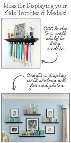 Love these ideas for displaying trophies, medals, and ribbons! Click through for the how-to! Displaying Trophies, Trophy Display, Diy Trophy, Trophy Shelf, Award Display, Medal Displays, Display Medals, Teen Girl Bedrooms, Kids Bedroom