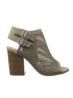 5549d811140 Stage Block Heel Peep Toe Open Back Ankle Booties w Perforated Cuts
