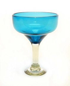 SET OF 4, AQUA MARGARITA GLASSES, RECYCLED GLASS - 14OZ. HANDMADE.