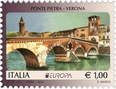 Italia 2018 - Europa: Brücken -Ponte Pietra in Verona Php, Stamp World, Interesting Buildings, Civil Engineering, Stamp Collecting, Postage Stamps, Taj Mahal, Around The Worlds, Pictures