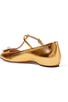 Gucci - Embellished Metallic Leather Ballet Flats - Gold - IT35.5