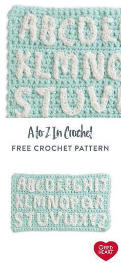 "Free A to Z in Crochet pattern using Red Heart Yarn. Craft crocheted letters to personalize or send a message with handmade projects. Each letter is 2"" tall and can be sewn or applied with fabric glue once complete. #Yarnspirations #FreeCrochetPattern #CrochetLetters #RedHeartYarn"