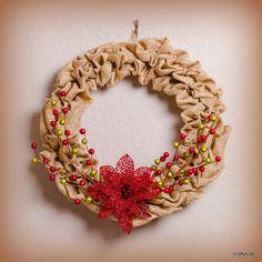 Burlap Christmas Wreath by Craftytude on Etsy, $38.00