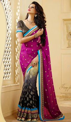 Steal the hearts away with this beige, gray and magenta georgette half n half sari. You'll see some interesting patterns  performed with lace and resham work.  #AlluringGeorgetteDesignerSari