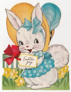 Vintage Greeting Card Die-Cut Easter Cute Bunny Rabbit A-Meri-Card a238