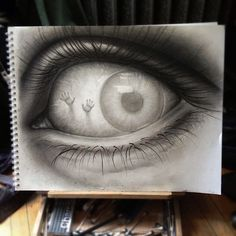 Eerie Eye #sketch #art #pencil black & white, eye, scary, hands, let me out, auch, beauty
