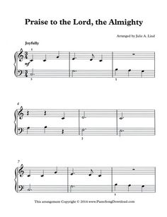 Praise to the Lord Almighty, free Christian hymn sheet music to print, or to download and use as digital music. Easy, beginning level piano music.