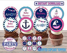 Ahoy It's a girl cupcake toppers Nautical by EasyPartyPrintables,