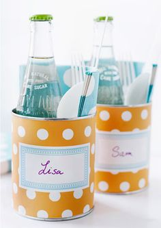 Picnic Tin Can Idea using craft paper and labels. Filled with napkins, flatware, soda.