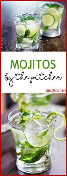 Mojitos By The Pitcher - This is a great way to make mojitos for a group instead of making them individually. Recipe is easy to double. Look for simple syrup with the drink mixers at the store if you Strawberry Mojito Recipe Pitcher, Best Mojito Recipe, Mojito Pitcher, Mojito Drink, Pitcher Drinks, Lemon Drink, Smoothie Drinks, Mojito Recipe Simple Syrup, Tattoos