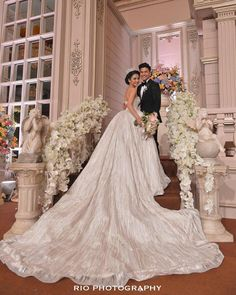 Bride in a bespoke ball gown by Hian Tjen // Glenn Alinskie and Chelsea Olivia's enchanted garden fairytale wedding