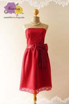 Red Dress Lace Party Dress Prom Dress Party Vintage by Amordress, $62.50