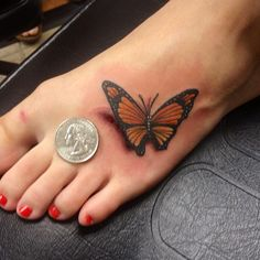 3D Butterfly Tattoo With Coin On Foot For Women