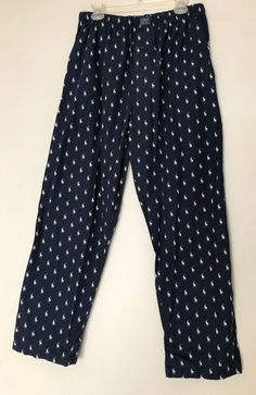 ce77115e47 Lacoste Sleepwear Pajama Pants Men's Medium All Over Logo Print Blue Cotton