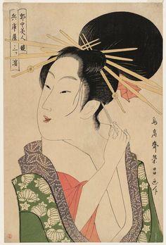 Chokosai Eisho Mitsuhama of the Hyôgoya, from the series Contest of Beauties of the Pleasure Quarters (Kakuchû bijin kurabe) 1795-97