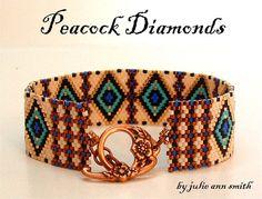 Julie Ann Smith Designs PEACOCK DIAMONDS Odd Count Peyote Bracelet Pattern