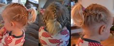 3 french braids into ponytail