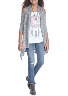 Beautees Heather Grey 2-Piece Cold Shoulder Cardigan And Graphic Tee Set Girls 7-16