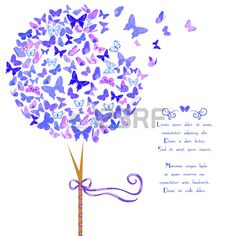 Vintage stylized vector tree of butterflies in violet blue hues. Template card design with space for text. Great for invitations, Valentine's Day decoration, cards and bag prints. Isolated on white Butterfly Tree, Blue Butterfly, Butterflies, Vector Trees, Vector Art, Butterfly Wedding Theme, Romantic Cards, Valentines Day Decorations, Tree Designs