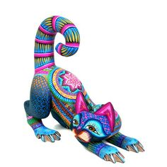 Striking multi-colored cat by artist Ivan Fuentes. Mexican Artwork, Mexican Folk Art, Folk Embroidery, Mexican Embroidery, Polymer Clay Sculptures, Animal Sculptures, Spirit Animal, Rock Art, Cat Art