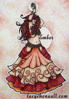 Ember Fire Belly Dancer Original Art Illustration