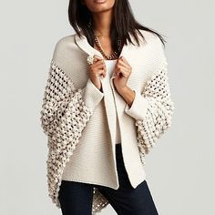 Open silhouette cardigan with loose popcorn knit and ribbed shawl collar and cuffs. >> aro Kate Popcorn Knit Open Cardigan [Bloomingdal...