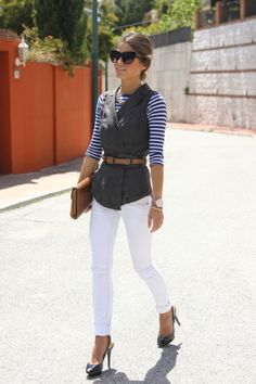 vest and white skinnies