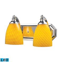 Bath And Spa 2 Light LED Vanity In Polished Chrome And Canary Glass by Elk Lighting Group