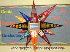 College pennant pinwheel bulletin board Life on the Fly.... A School Counselor Blog: Off to the Races.....