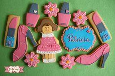Galletas decoradas de cumpleaños con maquillaje y zapatos