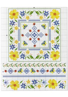 no color chart available, just use pattern chart as your color guide. or choose your own colors. Biscornu Cross Stitch, Cross Stitch Borders, Cross Stitch Flowers, Cross Stitch Charts, Cross Stitch Designs, Cross Stitching, Cross Stitch Kitchen, Just Cross Stitch, Beaded Cross Stitch
