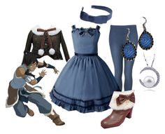 """""""Water Tribe Lolita"""" by meiki ❤ liked on Polyvore featuring Topshop, L. Erickson, lolita fashion, avatar, legend of korra, avatar the last airbender and lolita"""