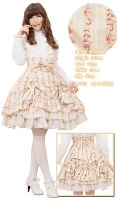 High-waist, vintage rose pattern, tier skirt by Bodyline