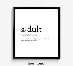 Adult definition dictionary art print office by footnotestudios