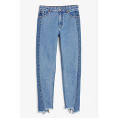 Kimomo two blue - two blue - Jeans - Monki ($68) ❤ liked on Polyvore featuring jeans, high-waisted jeans, tapered leg jeans, monki, high rise jeans and blue jeans