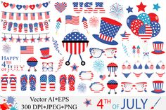 4th of July Clipart / USA Independence Day vector graphics By VR Digital Design