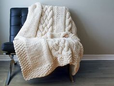 The BIGGEST, SOFTEST, knitted cozy blanket you can possibly find.