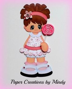ELITE4U lollipop girl kids pink premade paper piecing scrapbooking page album ~DT Mindy