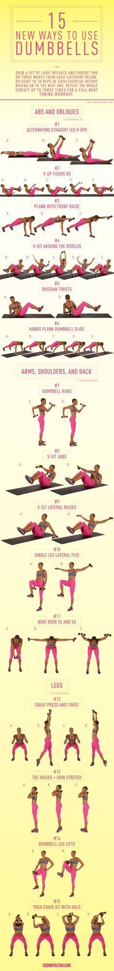 15 New Ways to Use Dumbbells in basic to more advanced exercise. Great way to add strength training to any workout.